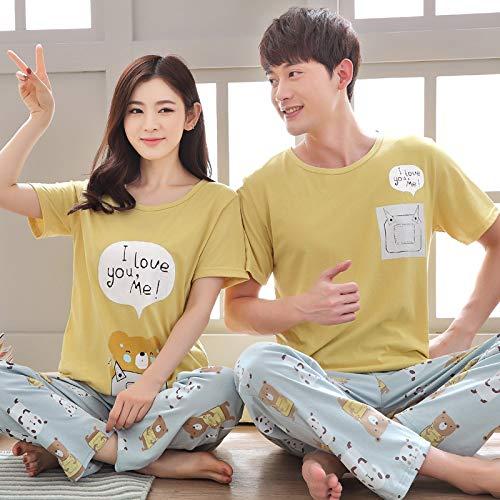 WILRND Home Cotton Paar Pyjamas Großhandel Sommer Herren Kurzarm-Hosen Pyjama Frauen Sommer koreanische Version des gestreiften Home-Service-Anzug (Color : Yellow, Size : M) -