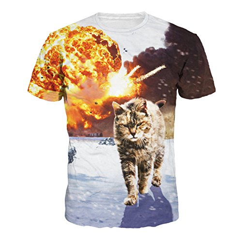 Männer Frauen Lebendige Kitty Runder Kragen Komfortable T-Shirt Top (Shirt Kitty)