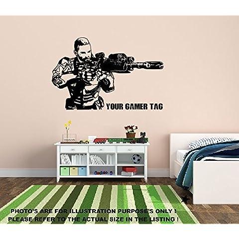 Call of Duty estilo Sniper Nombre de Gamer/etiqueta personalizado pegatinas de pared, Xbox, PS3Mural 1, 1140mm x 780mm