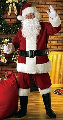 Extra Large Deluxe Plus 8piezas de terciopelo traje de Papá Noel Padre Navidad Disfraz