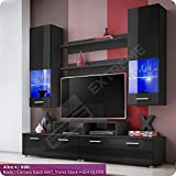 Smart Living Room Set - 2 Shelves - 2 Display Wall Hanged Cabinets - TV Floor Unit with LED Lighted Glass Shelves (Alice 4 / BBB)