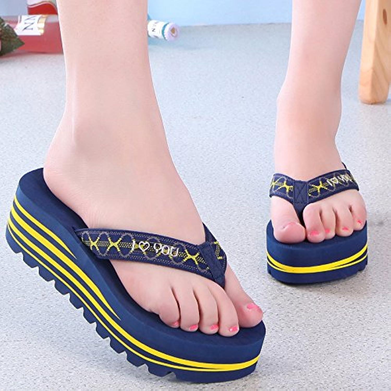 Zapatillas de mujer tacones de arrastre s fácil deslizamiento de plataforma de turismo de playa chanclas,amarillo 36