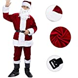 6 PCS Déguisement/ Costume de Père Noël Santa Claus Homme - Couleur Vin Rouge