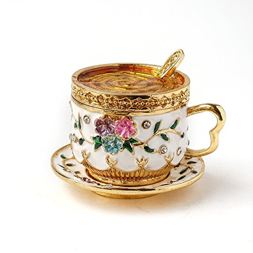 APROPOS Vintage Stil handbemalt Zwei Stück Set Tea Cup WithFlowers Schmuckkästchen Apropos Cup