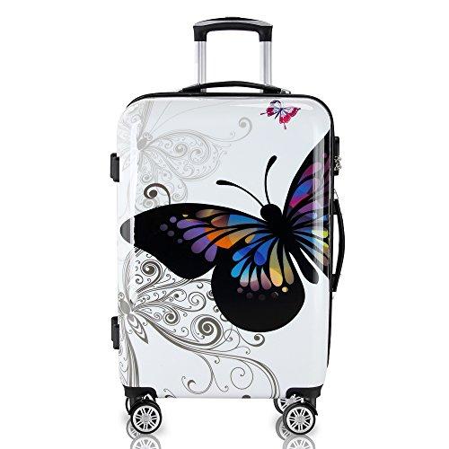 Hartschalen Koffer Butterfly Reisekoffer Trolley Reisegepäck Handgepäck gummierte Zwillingsrollen Polycarbonat Alu-Teleskopgriff - M