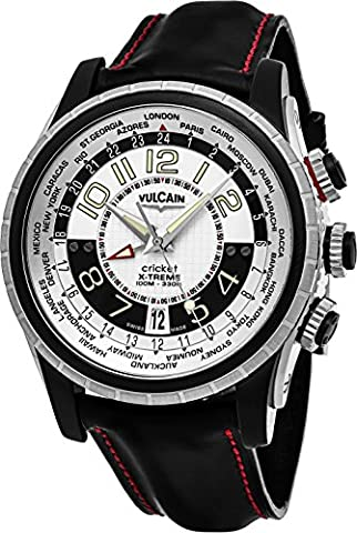 VULCAIN MEN'S 44MM BLACK ALLIGATOR LEATHER BAND MECHANICAL WATCH 161925-163CF