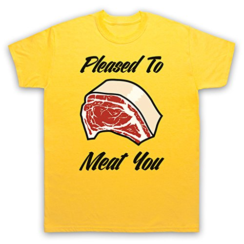 Pleased To Meat You Funny Slogan Herren T-Shirt Gelb