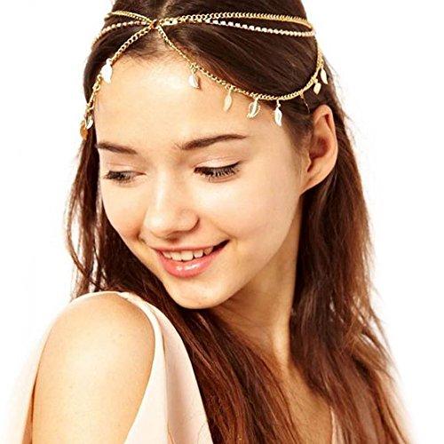 Gudeke Stirn Mädchen Dame Blätter Gesäumten Kristall Diadem Stirnband Haarbänder Kette