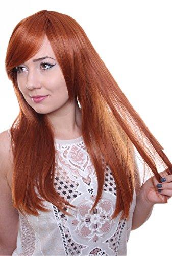 Prettyland C259 - lange Perücke mit Pony Glatt Volumen 60cm Hitzefest Wig - Orange