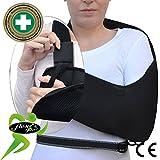 Écharpe bras/épaule - Poche profonde (Noir, L) Soutien Réhabilitation Ultra Confortable. ANTI-TRANSPIRANT, HYPOALLERGÉNIQUE. 4DflexiSPORT