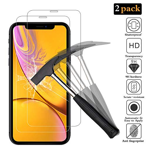ANEWSIR [2 Pièces] Verre trempé pour iPhone XR, Protection écran pour iPhone XR, Film Protection 9H Dureté, Installation Simple sans Bulles, Anti Rayures, Protection Ecran pour iPhone XR