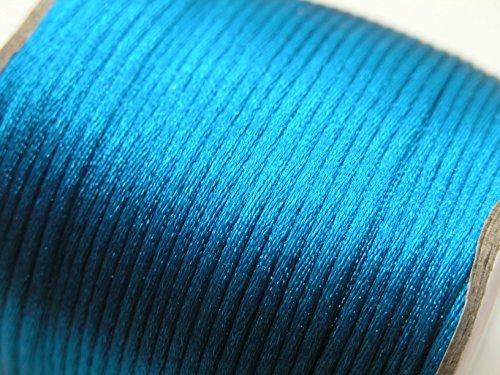 U Pick machen Mehrfarbig 2Rolle 100Meter 2.0mm Seide Rattail Satin Kordel Chinesischer Knoten aufreihmaterialien Kordel, 25 PEACOCK BLUE, 2.0mm -