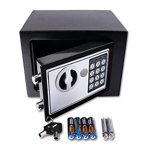 Schramm® Elektronischer Safe Tresor Minisafe Minitresor Wandtresor Möbeltresor Wandsafe mit digitalem Zahlenschloss Schwarz