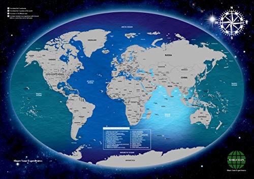 Mapa Mundi Para Rascar - Decoración De La Casa/Pared/Habitación - Útil Como Cuadros De Salón - Regalo Perfecto Para Amigos - Tamaño A1 (59,4cm alto x 84,1cm ancho) - Pegatinas Incluidas
