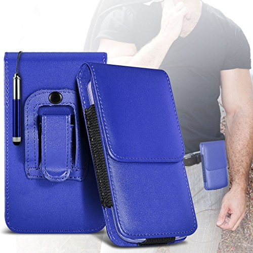 (Red) Case for iPhone 7 Plus Mobile Phone Case (PU) Leather Belt Clip Pouch Case Flip Cover Holster With Magnetic Button + retractable stylus touchscreen pen iPhone 7 Plus case by i-Tronixs Belt Flip+ stylus pen (Blue)