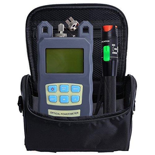 Medidor de potencia y testeador para fibra óptica FTTH con localizador visual de fallos de 30 mW y bolsa de herramientas (3 en 1), longitud de onda 70 dBm + 10 dBm