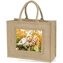 Bolsa de yute bolsa de la compra (tamaño grande), color natural, yute