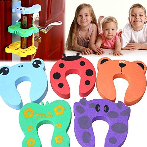 Generic Anti Pinch Tür Puffer stoßdämpfend für Kind Baby Sicherheit Stop Finger Pinch Guard, Design Niedliche Tiere, 4Stück, Farben und Muster zufällige