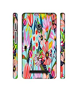 NattyCase Flowers Pattern 3D Printed Hard Back Case Cover for Asus Zenfone 5 A500CG