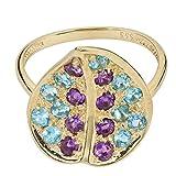 Gold & Edelsteine Damen Ring echt Gold Gelbgold 333 (8 Karat) Blautopas Amethyst 56