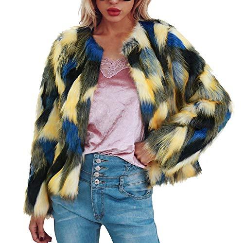 Sannysis Damen Mantel Winter Elegant Warm Faux Fur Kunstfell Cardigan Pelzmantel Jacke Winter Farbverlauf S-3XL