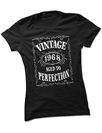 bybulldog Vintage 1968 Aged To Perfection 50th Birthday Present Ladies Premium Black T-Shirt Small To 2XL