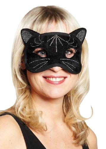 Karneval Maske Domino Katze schwarz zum Damen Kostüm an Fasching (Schwarze Domino Kostüme)