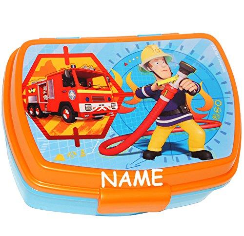 """Lunchbox / Brotdose - """" Feuerwehrmann Sam """" - incl. Name - großes Fach - Brotbüchse Küche Essen - aus Kunststoff - für Jungen - Feuerwehr / Rettung - Feuerwehren Löschen - Feuerwehrauto Jones - Kinder - Auto - Vesperdose - Brotzeitdose - Sandwichbox / Pausenbrotbox - Lunch / Rettungsdienst"""