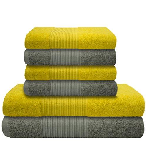 Küchen Handtücher Frottee Schwarz (Liness 6 tlg Handtücher Set gelb grau 4 x Handtücher 50x100 cm 2 Duschtücher Badetücher 70x140 cm Handtuch Duschtuch Badetuch 100% Baumwolle Frottee Handtuch-Set gelb grau hellgrau)