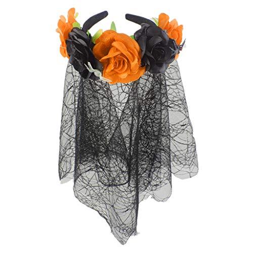Damen Blumenkranz mit Schleier Maske Halloween Haarschmuck Blumenkrone Girlande Blumen Haarband Kranz Floral Festival Party Stirnband Frauen Haarreif Reisen Haarbänder Kopfband Mädchen Karneval