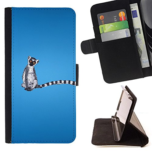 Kobe Diy Case / For Apple Iphone 5 / 5S Long Tail Grey White Animal Ring Tailed Lemur Rainforest Folio PU Wallert Leather Case