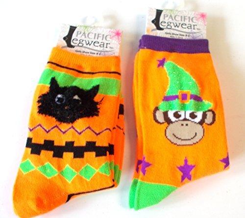 halloween-socks-black-cat-monkey-witch-orange-girls-9-3-nwt
