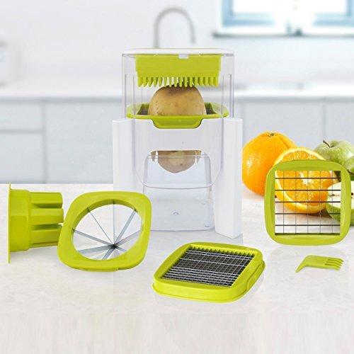 Picadora 4 en 1, para picar, hacer dados, picar fino y gajo de fruta, 4 cuchillas intercambiables, diseño compacto, incluye pelador perpetuo y eBook