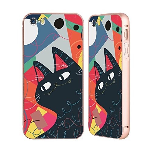 Ufficiale Kitten Rain Pattern Nastro Gatti Oro Cover Contorno con Bumper in Alluminio per Apple iPhone 5 / 5s / SE Tromba