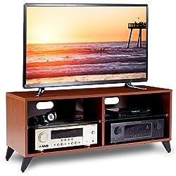 RFIVER Meuble TV Scandinave Armoire Salon Moderne Table télévision pour Télé 4 Portes pour Rangement Bois Noyer TS4002