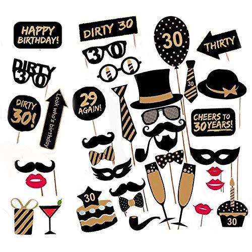 DELSEN 36 Stück 30 Geburtstagsfeier Fotostand Requisiten Fotorequisiten für Seine Oder Ihre Geburtstagsfeier Fotoaccessoires