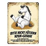 trendaffe - Metallschild mit weißes Pferd Motiv und Spruch: Bitte Nicht füttern - Kolik-Gefahr