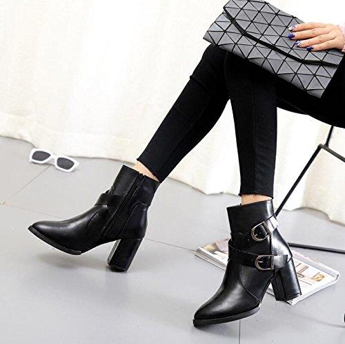 KHSKX-Grossolani E Fine-Point High-Heel Scarpe Short-Boots Femmina Chelsea Boots La Cinghia Della Ventola Clip Velluto Plus 36 37