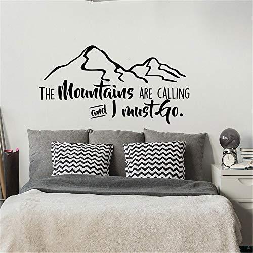 Die Berge rufen und ich muss gehen Vinyl Wall Decal Zitat - inspirierende Fernweh Zitat - Berg Wall Decal grau 79x42cm