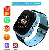 melysEU Muti-Funktion Smart Watch mit GPS-Handy-Basisstation Positionierung Handgelenk GM8 Kleinkind (Blau)