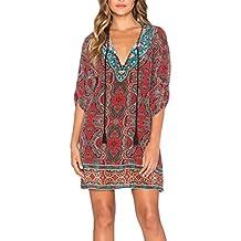 Vestiti Donna Estivi Eleganti Corti Vintage Hippie Mare Moda Casual Larghi Manica  3 4 Rotondo 9463bf15fe2