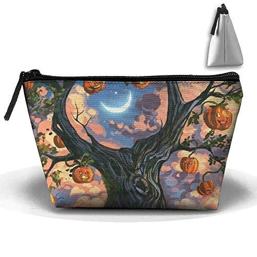 Trapezoid Kosmetiktaschen Pinsel Beutel Halloween Kürbis Baum Make-up Tasche Reißverschluss Geldbörse Hangbag