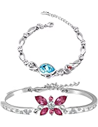 Mahi Rhodium Plated Combo Of Beautiful Delicate Bracelets With Crystal Stones CO1104700R