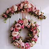 SunniMix Hochwertige Simulationsseide Pfingstrosen Blumen Tür Kranz Ordnungs Girlanden Hochzeitsfest Blumen Anordnung - Rose - 9