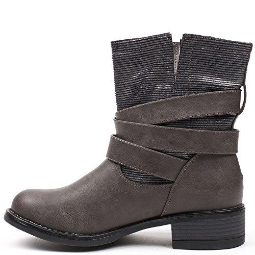 Ideal Shoes–Scarponcini motardes con parte Montante Glitter Perline Grigio
