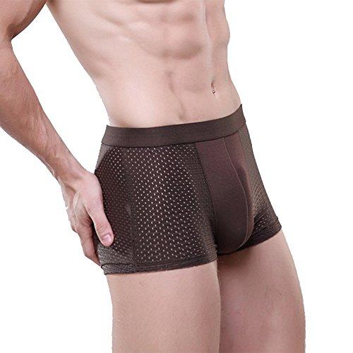 Underwear Myhope Hommes Boxeurs Shorts Troncs Ajouré Confortable Stretch Els Coton Slip,Brown,XL