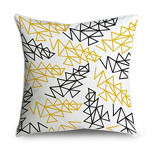 fabricmcc einfach modern gelb und schwarz geo quadratisch Accent dekorativer Überwurf-Kissenbezug 18x 18