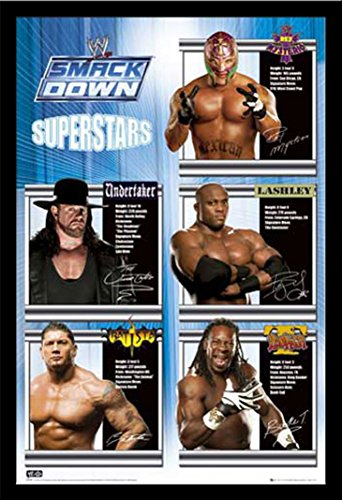 wrestling-poster-wwe-smackdown-superstars-feux-daccessoires-de-fixation-cadre-en-mdf-noir