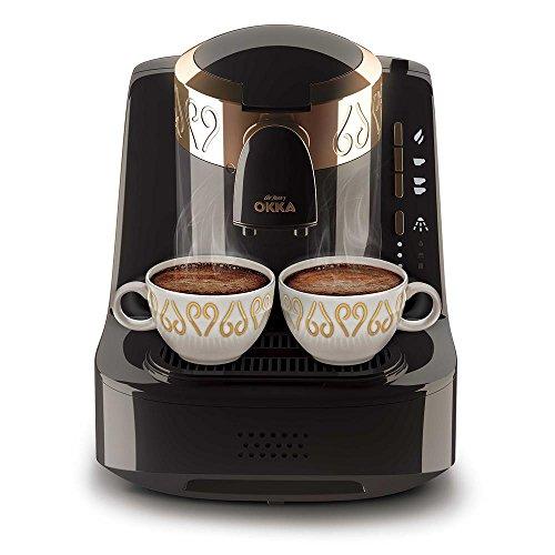 Arzum OK001b Okka Hochwertige Moderne Türkische Mokka Maschine Kaffemaschine Schwarz/Kupfer, Farbe:Schwarz, Edelstahl,