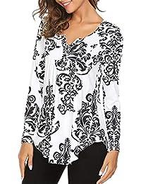920c2ccc8a5f87 T-Shirt da Donna con Scollo V A A Grazioso Manica Lunga con Stampa Floreale  Tops Camicia